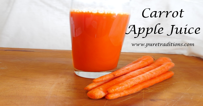 Carrot Apple Juice Recipe www.puretraditions.com