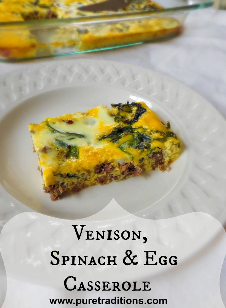 Venison spinach egg casserole